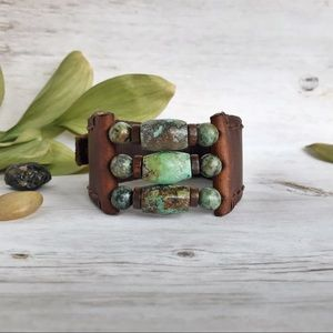 Hand Crafted Leather and Hubei Turquoise Cuff